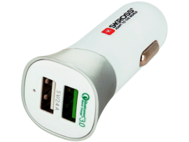 (s67) ΤΑΧΥ- ΦΟΡΤΙΣΤΗΣ USB  Quick Charge3.0  ΑΝΑΠΤΗΡΑ AYTOKINHTOY 5400mA   ΜΕ ΔΥΟ ΘΥΡΕΣ USB SKROSS Dual USB Car Charger Quick Charge 3.0