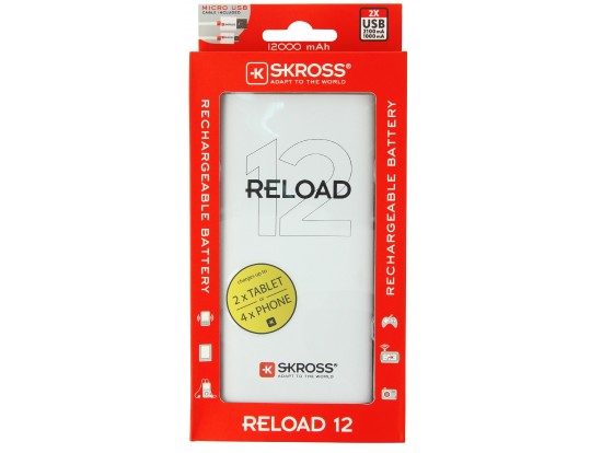 (s25) Φορτιστής power bank BATTERY USB 12000mA με 2 θύρες USB RELOAD12 skross 1.302167
